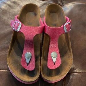 Birkenstock girl's sparkly pink sandals